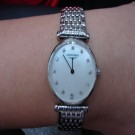 台中流當品拍賣 流當手錶 原裝 LONGINES 浪琴 嘉嵐 珍珠母貝鑽面 超薄 石英 女錶 9成5新